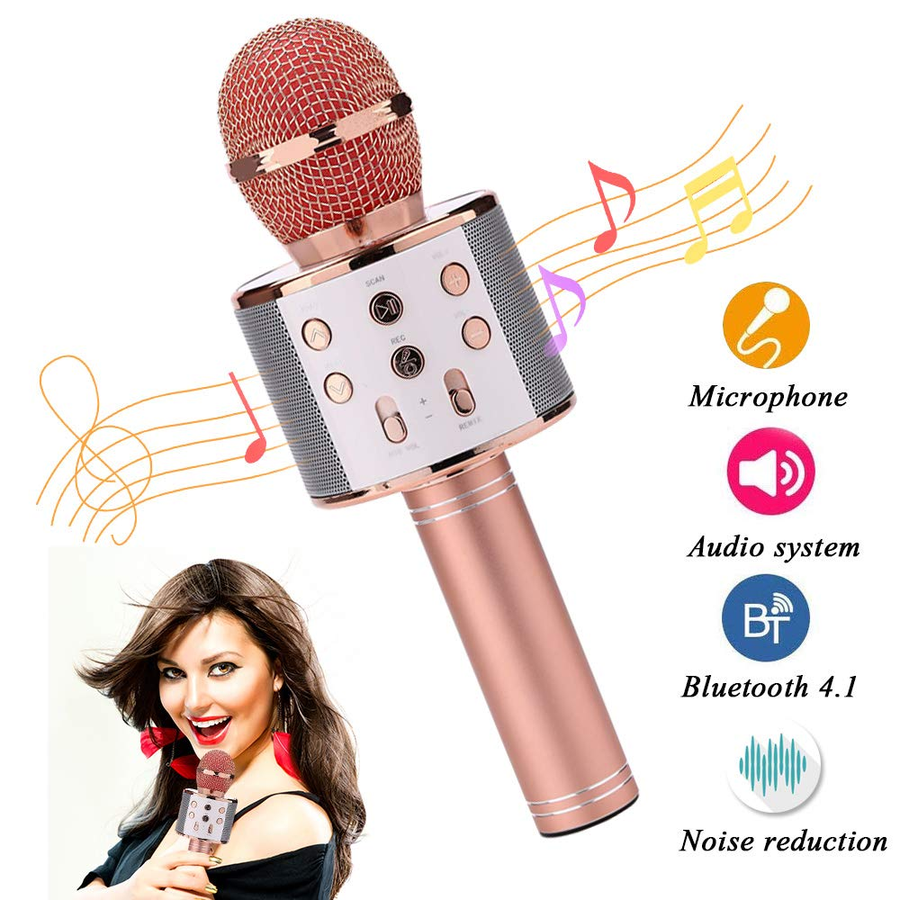 Yamii Wireless Karaoke Microphone Bluetooth Karaoke Microphone Portable Handheld Built-In Bluetooth Speaker Player Karaoke Machine For KTV Home Karaoke Party Singing For IOS//Android Phone PC Rose Golden