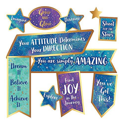 - Fun Express - Galaxy Motivational Signs Mini Bb Set - Educational - Classroom Decorations - Bulletin Board Decor - 18 Pieces