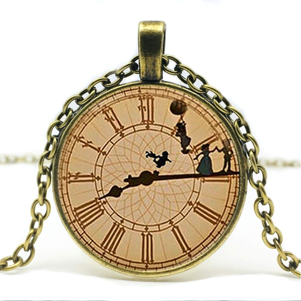 Mens necklace Hot Sale Black Peter Pan Inspired By The Clock Glass Pendant Necklace Peter Pan Big Ben Necklace Jewelry.