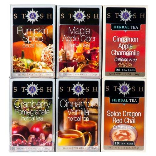 Stash Tea 6-Flavor Assortment Tea, Fall for Autumn, 6 -