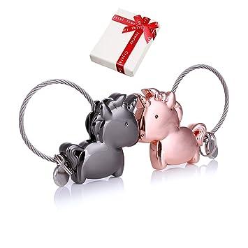 Llavero par amor,2 personalizado imán Llavero pequeño desmontable,elegante Deco con cuerda de alambre de acero inoxidable,regalo de cumpleaños para el ...