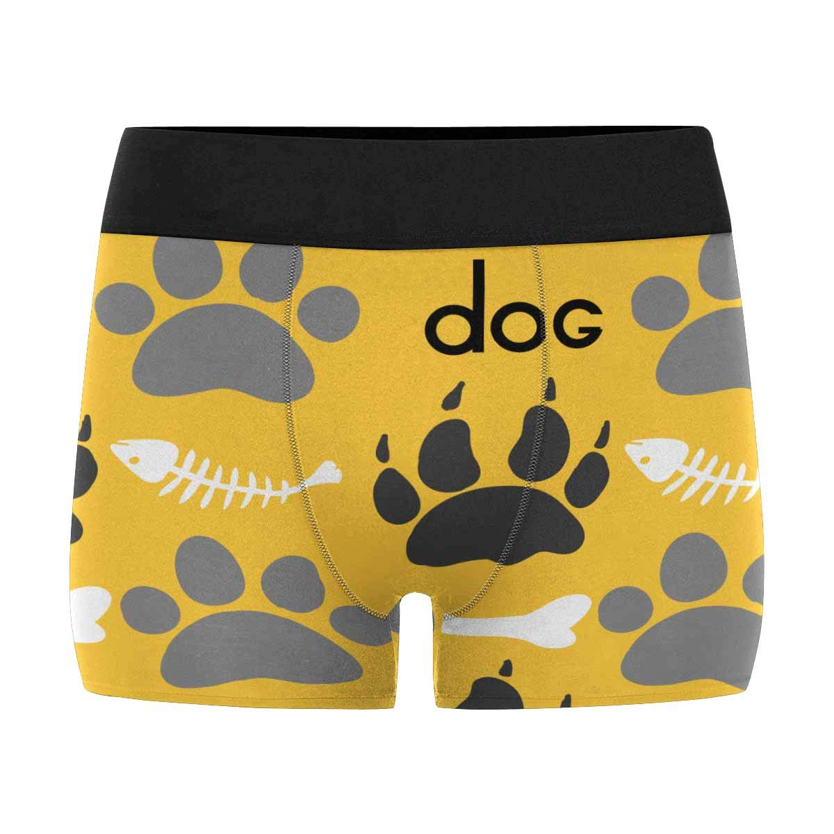 Mens Underwear Pouch Custom Dog Paw and Fish Bone Breathable Boxer Briefs Shorts