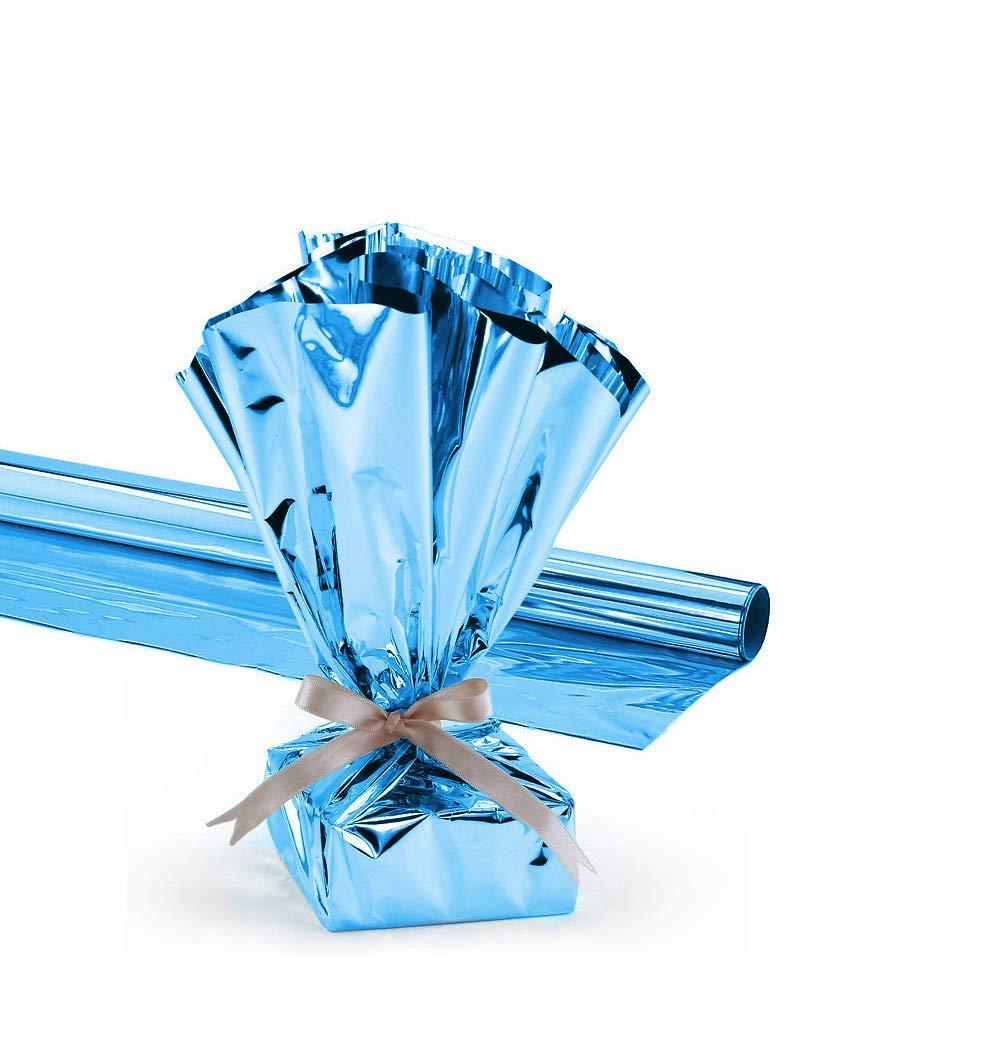 Metallic Dark Blue pkg//1 24 inches X 25 Feet Mylar Gift Wrap Roll