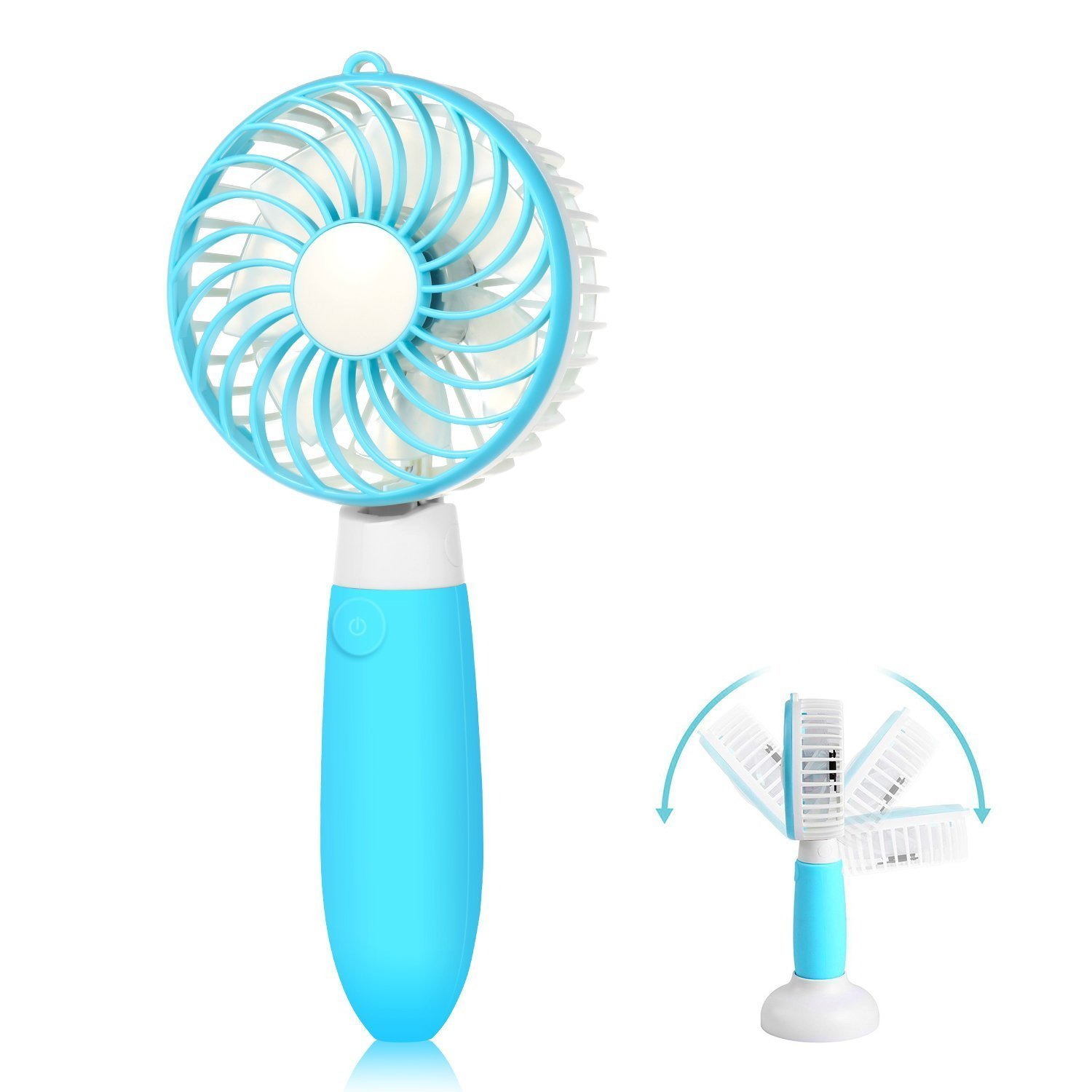 Mini Fan,Allkeys Personal Handheld Fan Battery Operated Portable Rechargeable USB with Base 3 Speeds for Home Office Outdoors Travel, 2018 Upgrade (Blue)