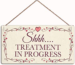 WEIMEILD Shhh…Treatment in Progress - Hanging Door Sign for Home Beauty Salon,Wood Sign Wall Art Poster Bar Sign Home Decor, 12