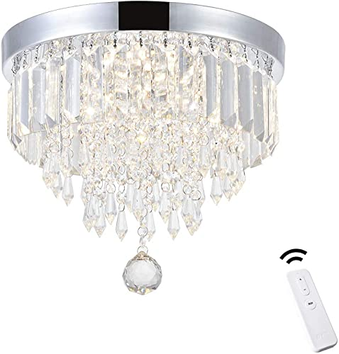 ANKEE Smart Contemporary LED Ceiling Crystal Chandeliers – Modern Flush Mount Ceiling Light, Work with Alexa and Google Assistant 11.8 D