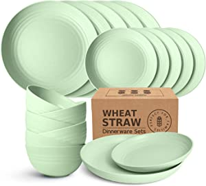 Peurif Kitchen Wheat Straw Dinnerware Set, Dinner Plates, Dessert Plate, Cereal Bowls, Unbreakable Plastic Outdoor Camping Dishes (Green, Service for 6 (18 pieces))