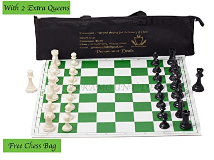 Paramount Dealz 17x 17 Professional Vinyl Chess Set (Fide Standards)- with 2 Extra Queens/Carry Pouch, Green