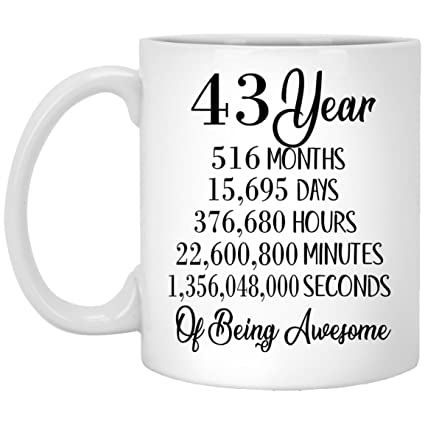 Amazon 43th Birthday Gift 43 Thirty Years Old Months Days