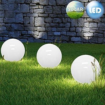 LED Bola Solar jardín paisajístico de luces al aire libre 3 x 30 cm Juego Luz blanca cálida Lámpara Globo Encendido automático al atardecer: Amazon.es: Iluminación