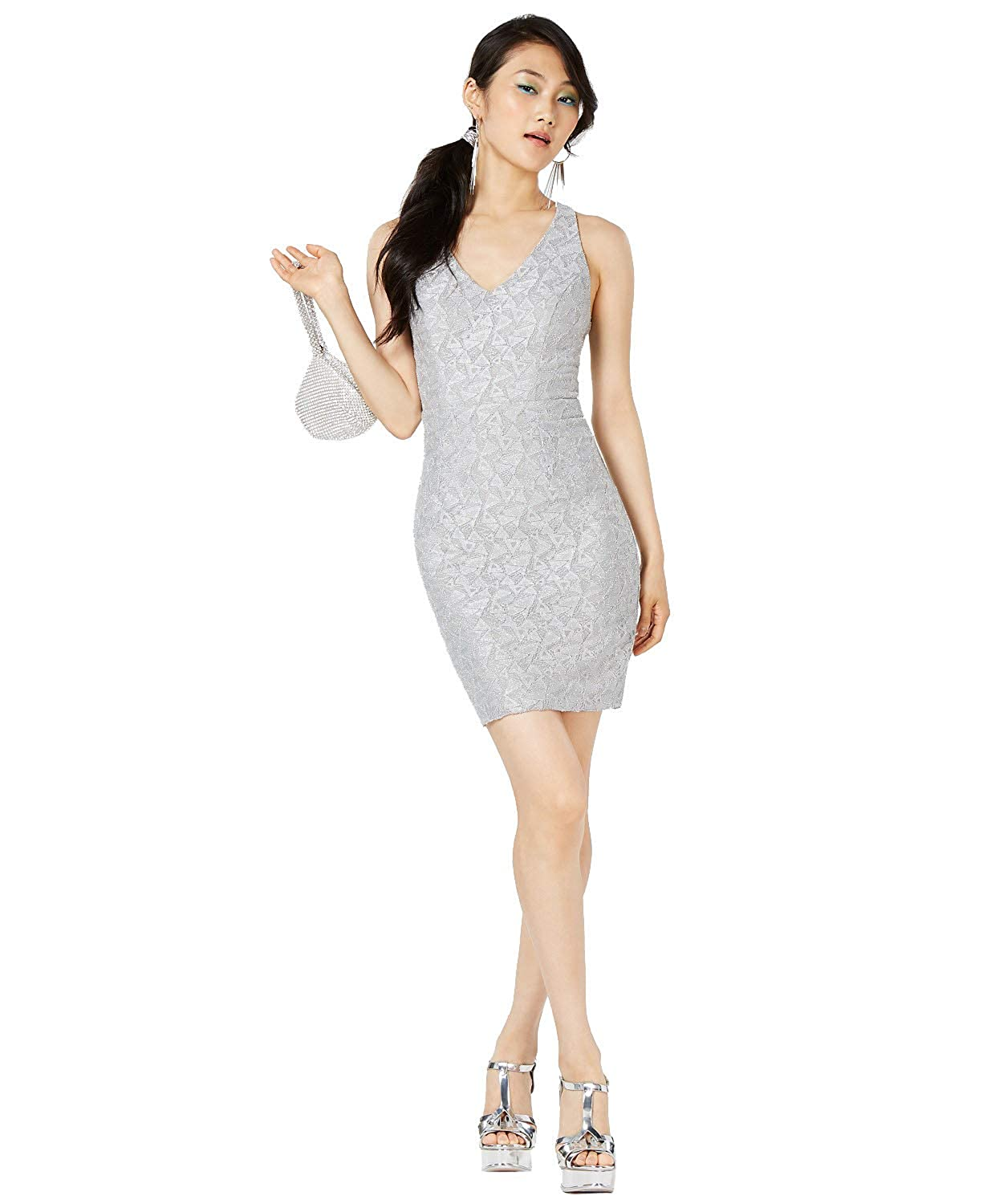 Amazoncom City Studios Juniors Glitter Lace Bodycon Dress