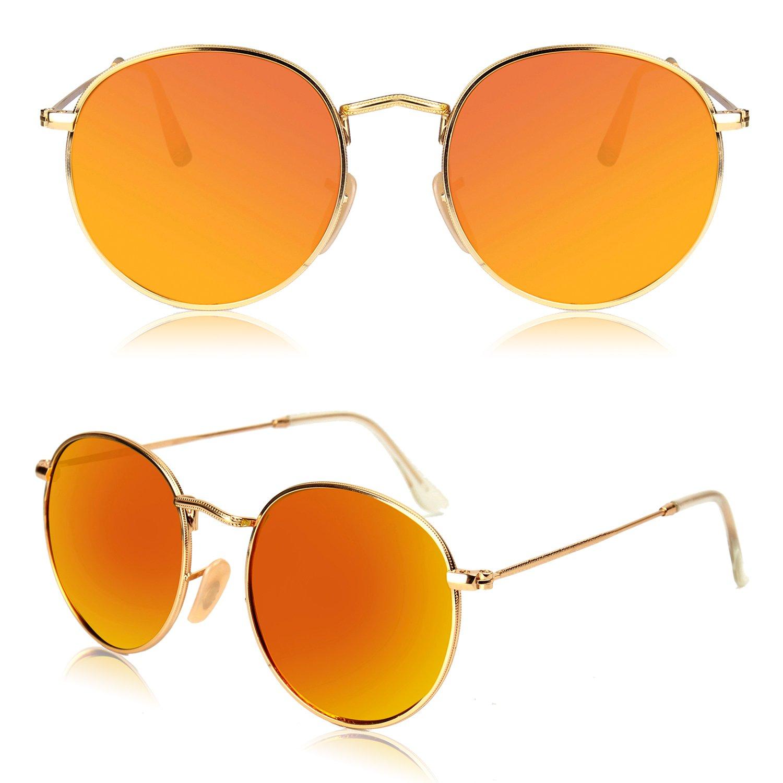 faeac274b8 SOJOS Small Round Polarized Sunglasses Mirrored Lens Unisex Glasses SJ1014  3447 SJ1014C1