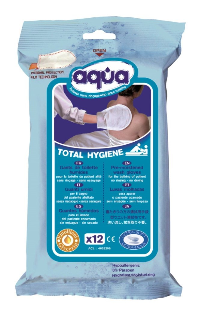 No Rinse Aqua Wash Gloves (Pouch of 12 Gloves) Cleanis CL4628209 LM_PR52207/18