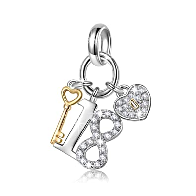 NinaQueen Lucky No18 925 Sterling Silver 18 Years Old Birthday Gift Heart Key Pendant