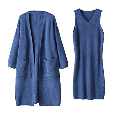 LUCKYCAT Vestido de suéter sólido de Punto de Manga Larga de ...