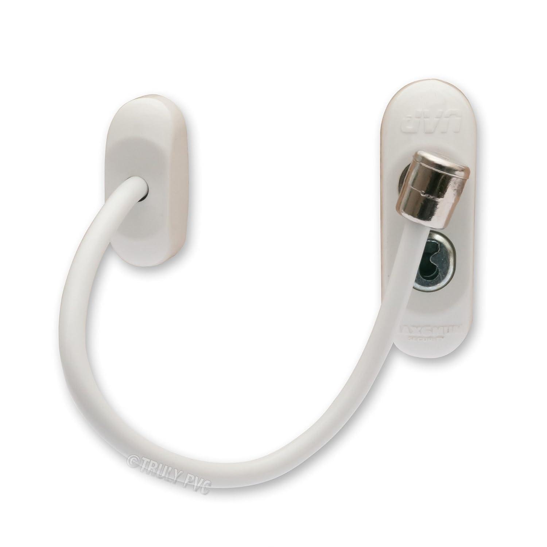 1x blanco Max6mum de seguridad bebé y seguros para los niños. Cable con cerradura ventana Restrictor–usos Cable fuerte que se puede bloquear con llave Max6mum Security