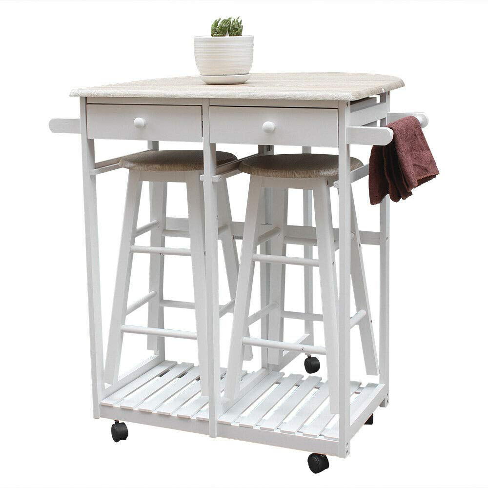 AK Energy White Wood Kitchen Island Rolling Trolley Cart Storage Dinning Table 2-Stools Set Slat Bottom Shelf