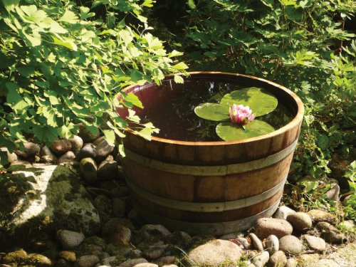 Holzfass Weinfass halbiert aus Eichen-Holz als Pflanzkübel oder Miniteich (Durchmesser 70cm)