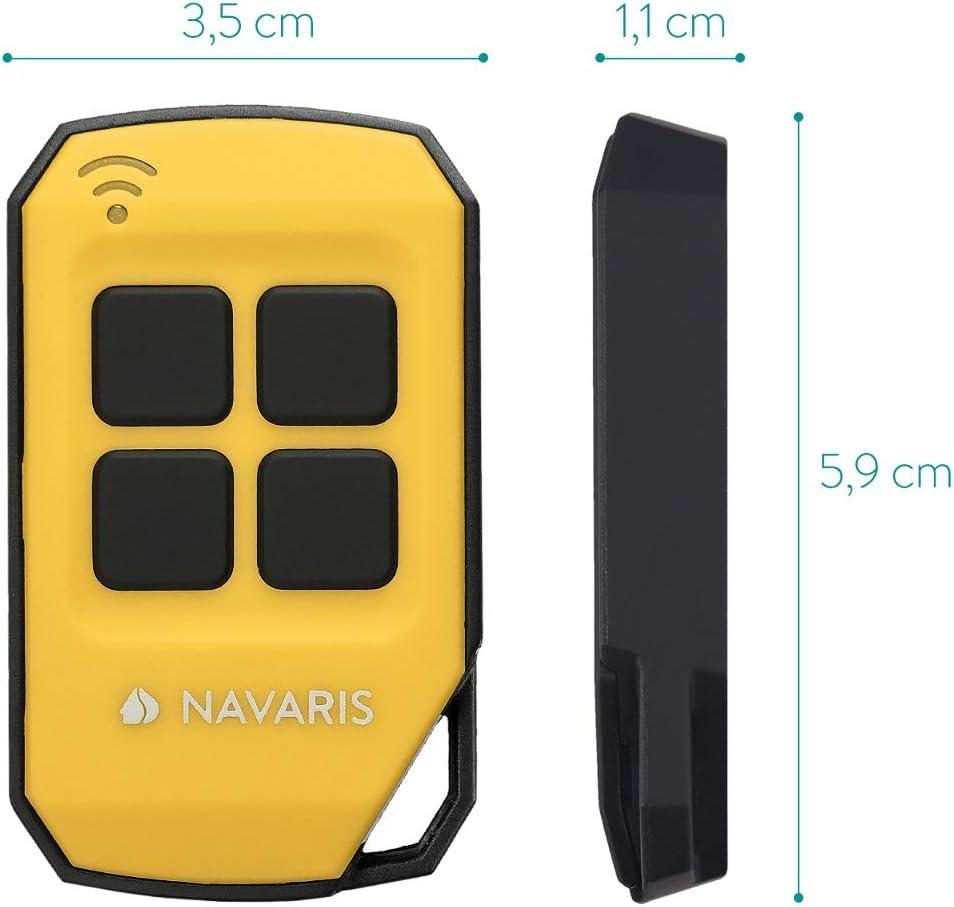 Navaris T/él/écommande Garage Universelle Rouge /Émetteur avec 4 Boutons T/él/écommande Radio 433 MHz Portail Garage Code fixe et tournant