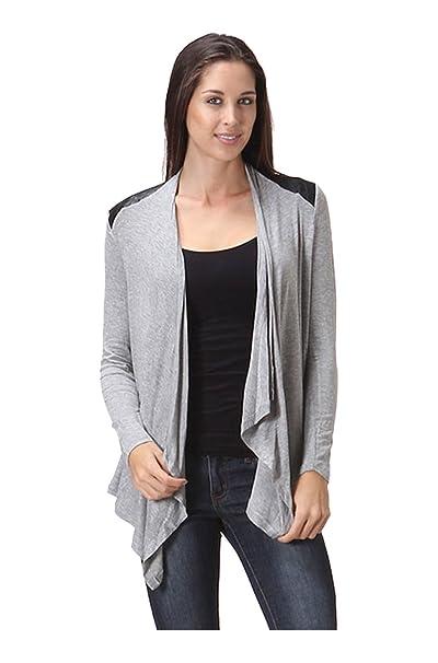 Amazon.com: 2LUV Draped de la mujer frente abierto chaqueta ...