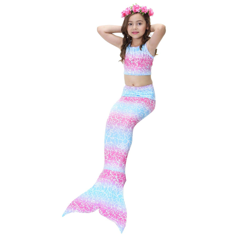 LANCYBABY 2018 3PCS Girls Swimsuit Mermaid Tail for Swimming Princess Tropical Bikini Gift Masquerade Pool Party