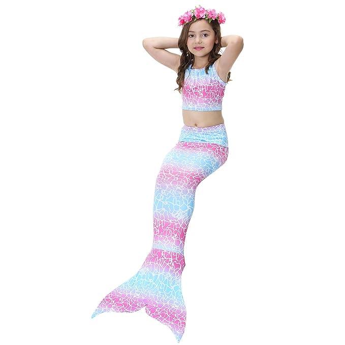 3Pcs Girls Mermaid Tails Swimsuit Tropical Bikini Suits Princess Tankini Swimming Bathing Set
