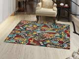 smallbeefly Doodle Door Mats Area Rug Cinema Items Combined in an Abstract Style Popcorn Movie Reel The End Theatre Masks Floor mat Bath Mat for tub Multicolor
