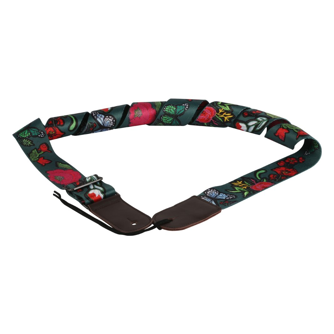 LULALA VI VICTORY Vintage Jacquard Woven Guitar Strap Hootenanny Pattern Adjustable Length Secure Leather Ends- Suitable For all string instruments LU-H16