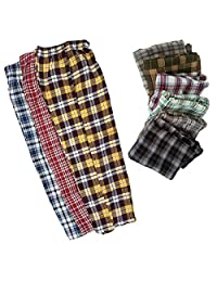 3 Pack: Men's Plaid Pajama Bottoms Sleepwear 100% Cotton