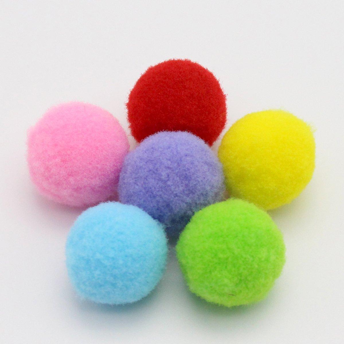 UEETEK 160PCS 3.5CM Jouets de chat Assortiment de couleurs douces chat jouet boules chaton jouets Pompon boules (couleur de mélange)