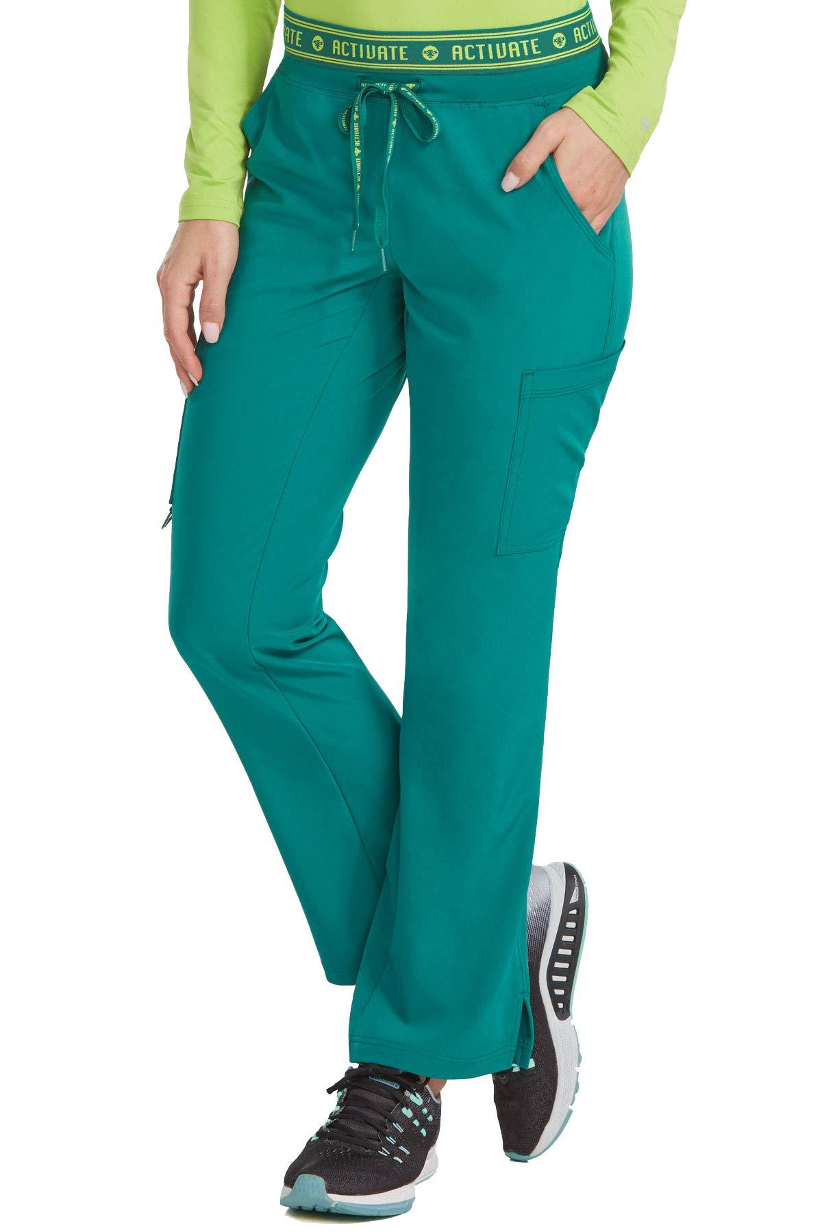 Med Couture Activate Scrub Pants Women, Flow Yoga 2 Cargo Pocket Pant, Hunter, Medium