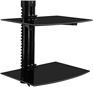 Mount-It! Floating Wall Mounted Shelf Bracket Stand for AV Receiver, Component, Cable Box, Playstation, Xbox, DVD Player, Projector, 34 Lbs Capacity, 2 Shelves, Tinted Tempered Glass
