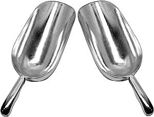 Set of 2 Large (12 Oz.) BonBon Aluminum Ice Scoop, Dry Goods Bar Scooper High Grade Commercial Scoop