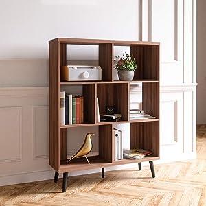 Bestier Cube Bookcase Mid-Century Bookshelf Modern Display Open Storage Bookcase Freestanding Decorative Organizer Shelves for Living Room Bedroom Home Office Furniture