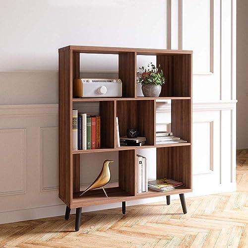Bestier Cube Bookcase Mid-Century Bookshelf Modern Display Open Storage Bookcase Freestanding Decorative Organizer Shelves
