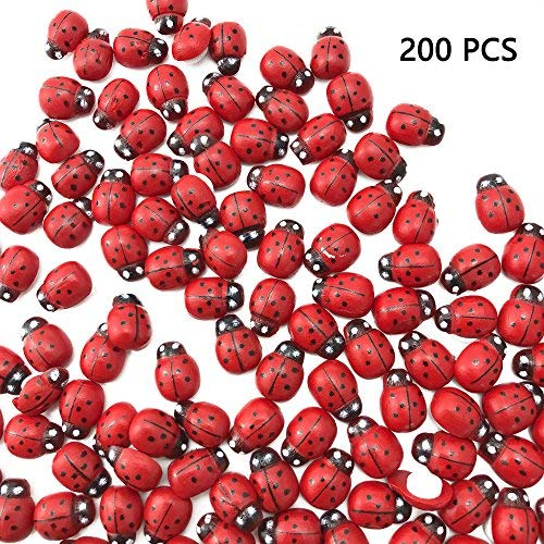 Sc0nni 200Pcs Painted Wooden Ladybug/Self Adhesive/Craft/Decorations/Home Decor/Plants 10x13mm ()