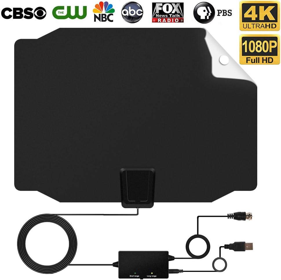 ELEPHAS 2018 - Antena de televisión HD Digital, Amplificador de señal de Rango Largo de 50 a 80 Millas – Compatible con Canales Locales de televisión 4 K HD VHF UHF con