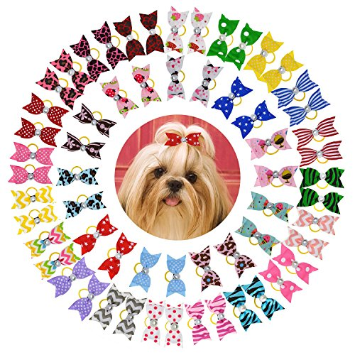 YCSJPET Pet Hair Bows, Bulk Kitten Puppy Horse Headdress Grooming Accessories Dog Hair Bows with Rubber Bands