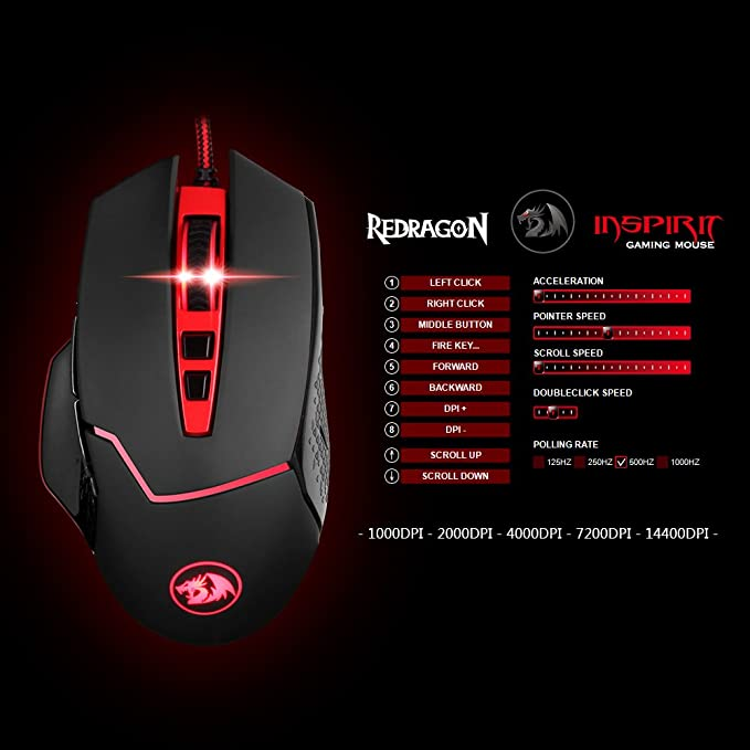 Redragon M602 NEMEANLION USB Gaming Maus 3000 DPI 7-farbige LED-Hintergrundbeleuchtung f/ür Windows PC Games 7 Tasten