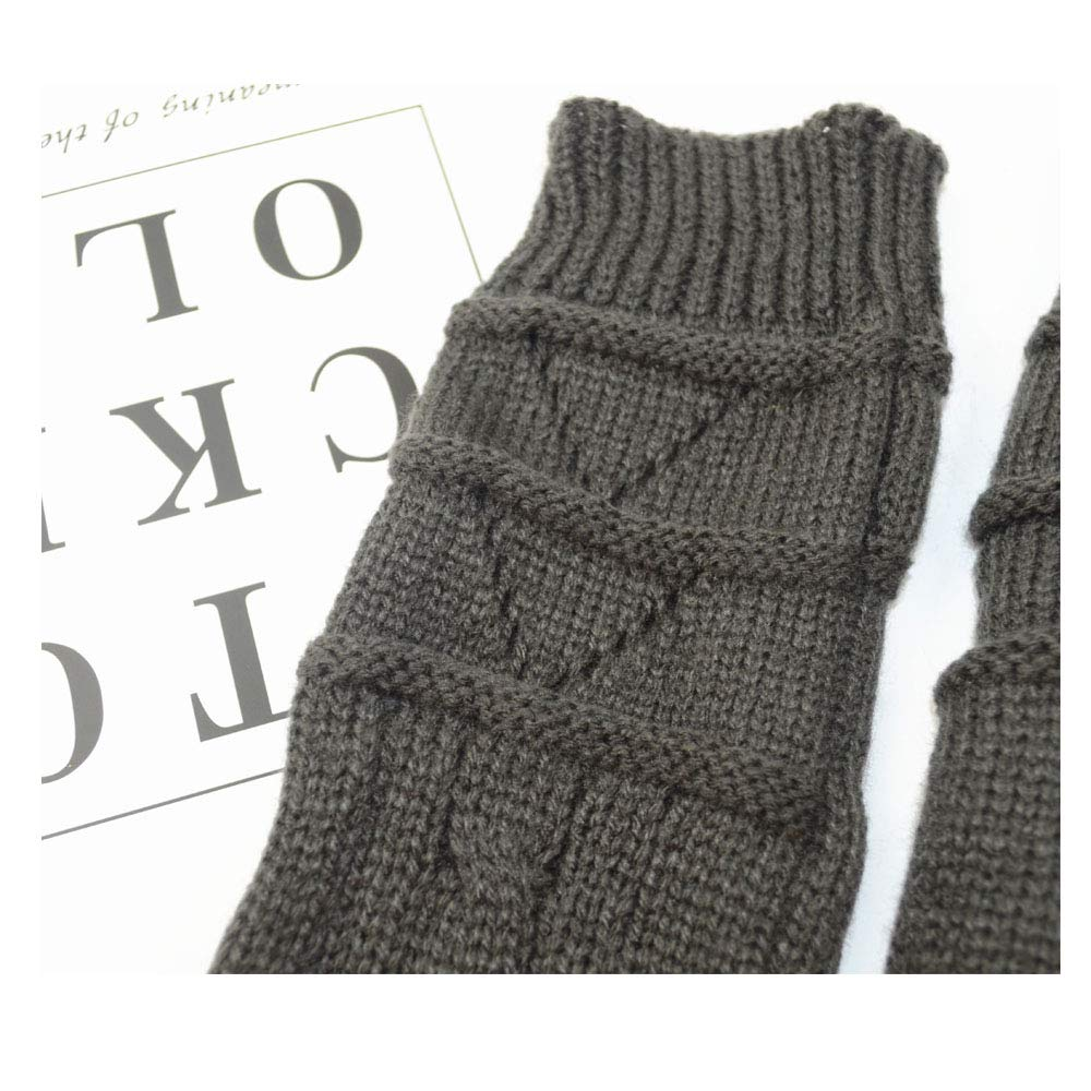 Autumn Winter Women Acrylic Fingerless Gloves Cable Thick Knit Soft Arm Thumb Hole Arm Sleeves