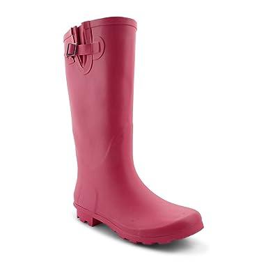 21f1c6cc40b Onlineshoe Ladies Womens Flat Wide Calf Wellie Wellington Festival Rain  Boots - Fuchsia Hot Pink UK