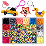 GARUNK Fuse Beads Educational Toys for Kids, 3200 Pcs 24 Color Water Sticky Beads (Not Need Heat) with Whole Set of Accessories Compatible with Aquabeads and Beados Art Crafts Toys for Kids Beginners