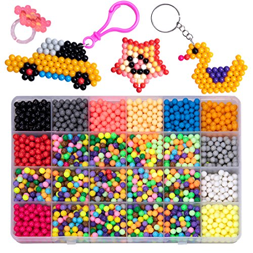 GARUNK Fuse Beads Educational Toys for Kids, 3200 Pcs 24 Color Water Sticky Beads (Not Need Heat) with Whole Set of Accessories Compatible with Aquabeads and Beados Art Crafts Toys for Kids Beginners by GARUNK
