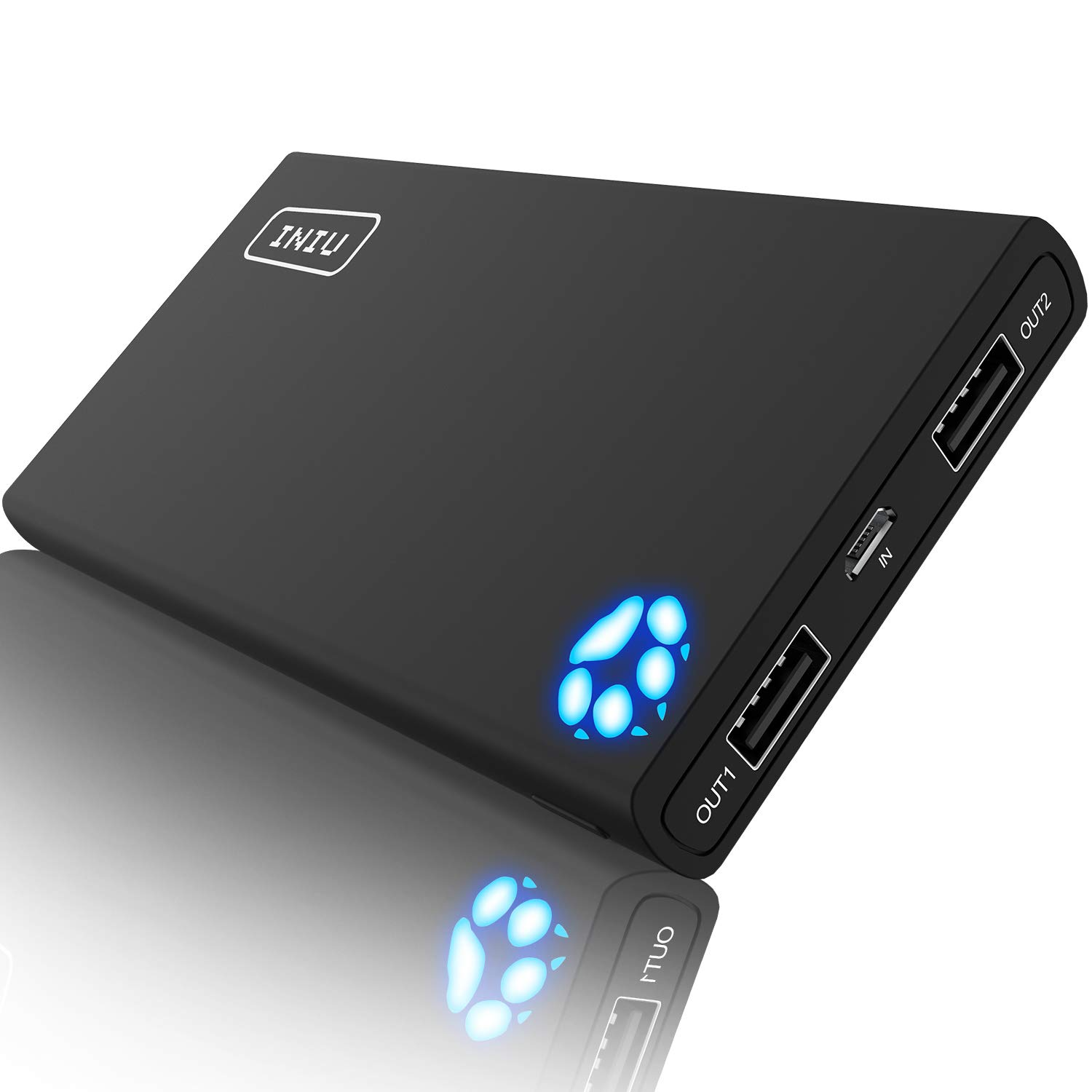 INIU Portable Charger 10000mAh Power Bank High-Speed 2 USB Ports with Flashlight External Battery Backup Ultra Compact Slim Powerbank Compatible with iPhone X 8 7 6s 6 Plus 5s 5 Samsung Cell Phone