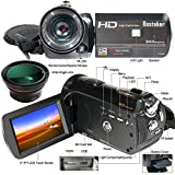 Besteker HDMI 1080P FHD WIFI Digital Video Camera Infrared Night Vision 30FPS Camcorder with 18X Zoom Touch Screen and External 72mm Wide Angle Lens (HDV-D395)