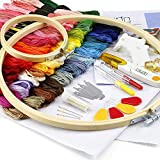 Caydo Embroidery Starter Kit with Operating Instructions for Adults and Kids, Including 2 Pieces Bamboo Embroidery Hoops, 50 Color Threads, 2 Pieces Aida and Cross Stitch Tool Kits