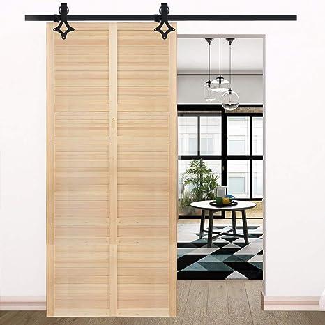 Kit de puerta corredera de madera de 183 cm con barra deslizante y forma de estrella, de acero negro: Amazon.es: Bricolaje y herramientas