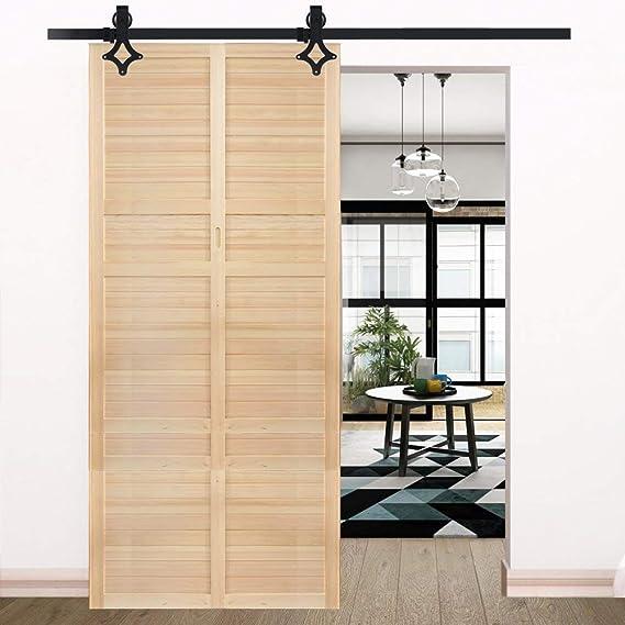 Kit de puerta corredera de madera de 183 cm con barra deslizante y ...