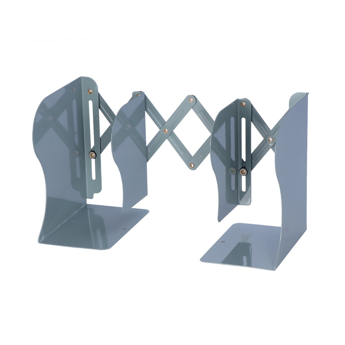 WINOMO Adjustable Metal Bookend Heavy Duty and Decorative Modern Design (Grey)