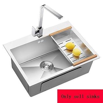 Amazon.com: KITCHEN SINK Single Slot Silver Deep Square ...